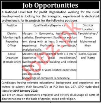 National NGO Jobs in Tando Allahyar, Badin, Sujawal, Thatta