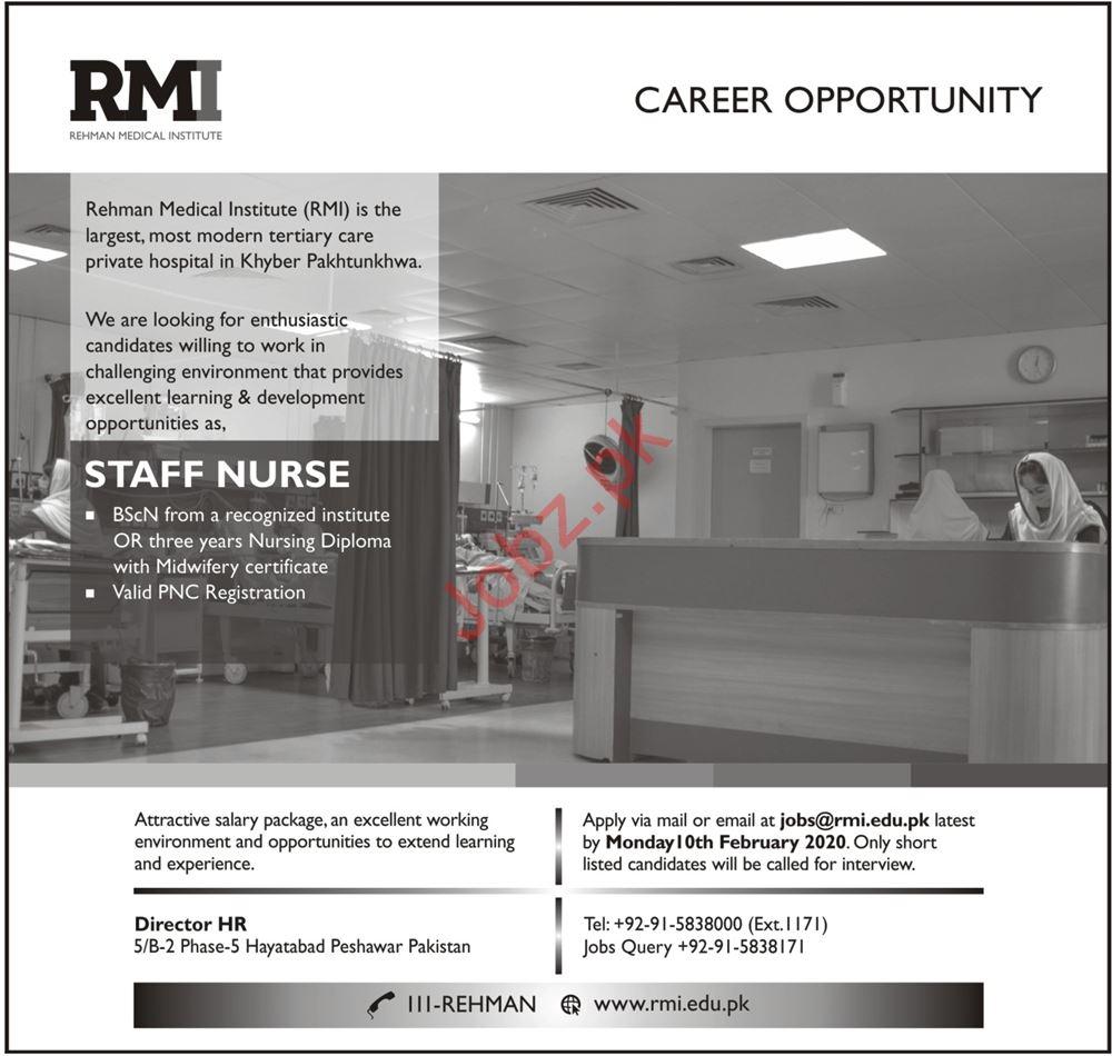 Rehman Medical Institute RMI Job For Staff Nurse