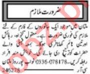 Daily Khabrain Worker Jobs 2020 in Multan