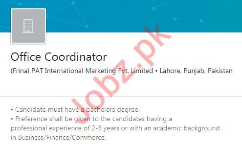 PAT International Marketing Job For Office Coordinator