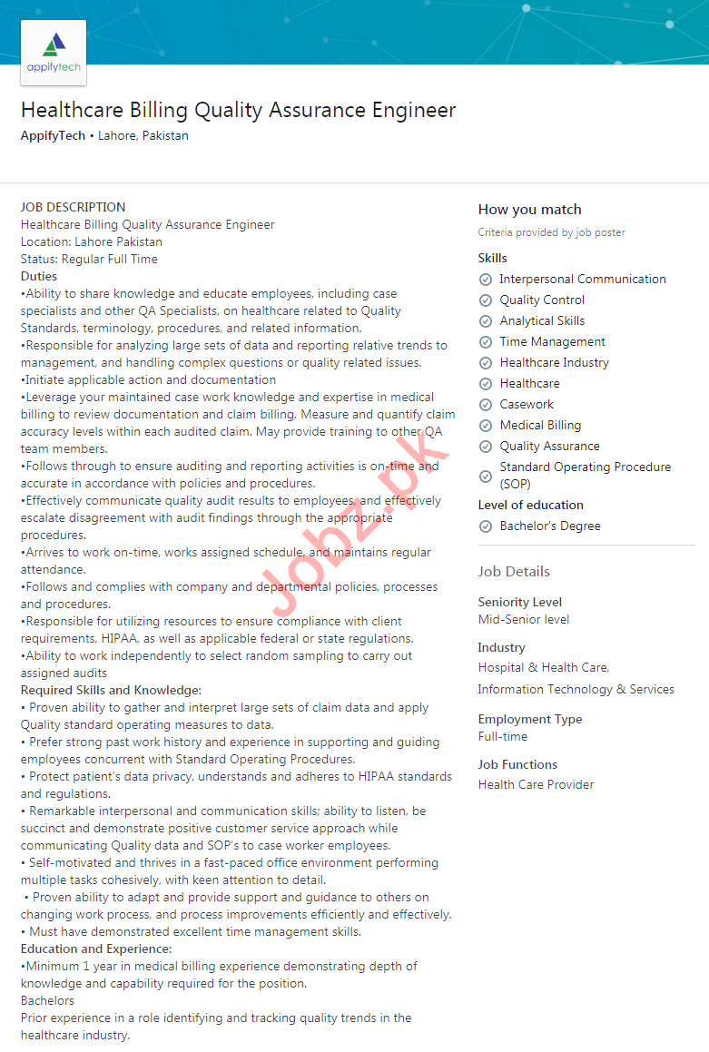 Healthcare Billing Quality Assurance Engineer Job in Lahore