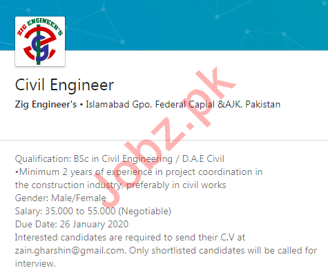 Civil Engineer Job 2020 in Islamabad