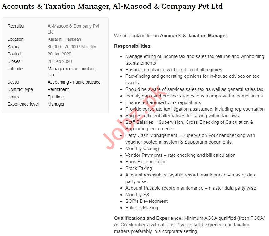 Accounts & Taxation Manager Jobs 2020 in Karachi