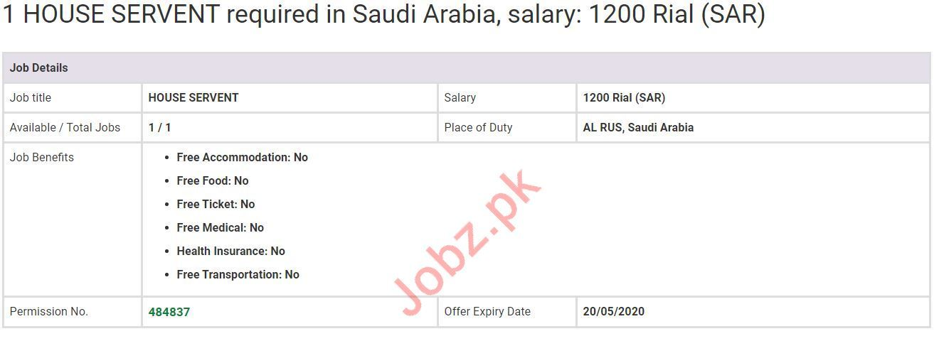 House Servant Jobs in Al Rus Saudi Arabia