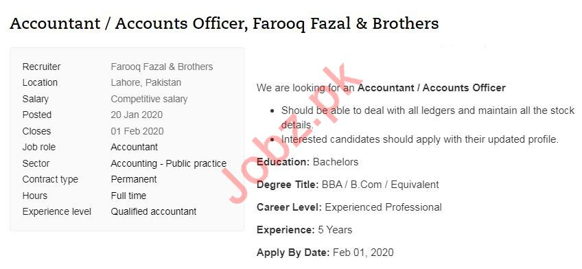 Accountant & Accounts Officer Job 2020 in Lahore
