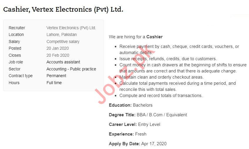 Vertex Electronics Pvt Ltd Job 2020 For Cashier in Lahore