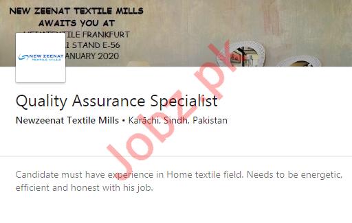 New Zeenat Textile Mills Job 2020 in Karachi