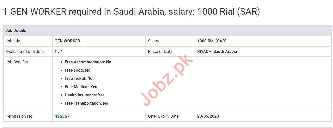 General Worker Jobs in Riyadh Saudi Arabia