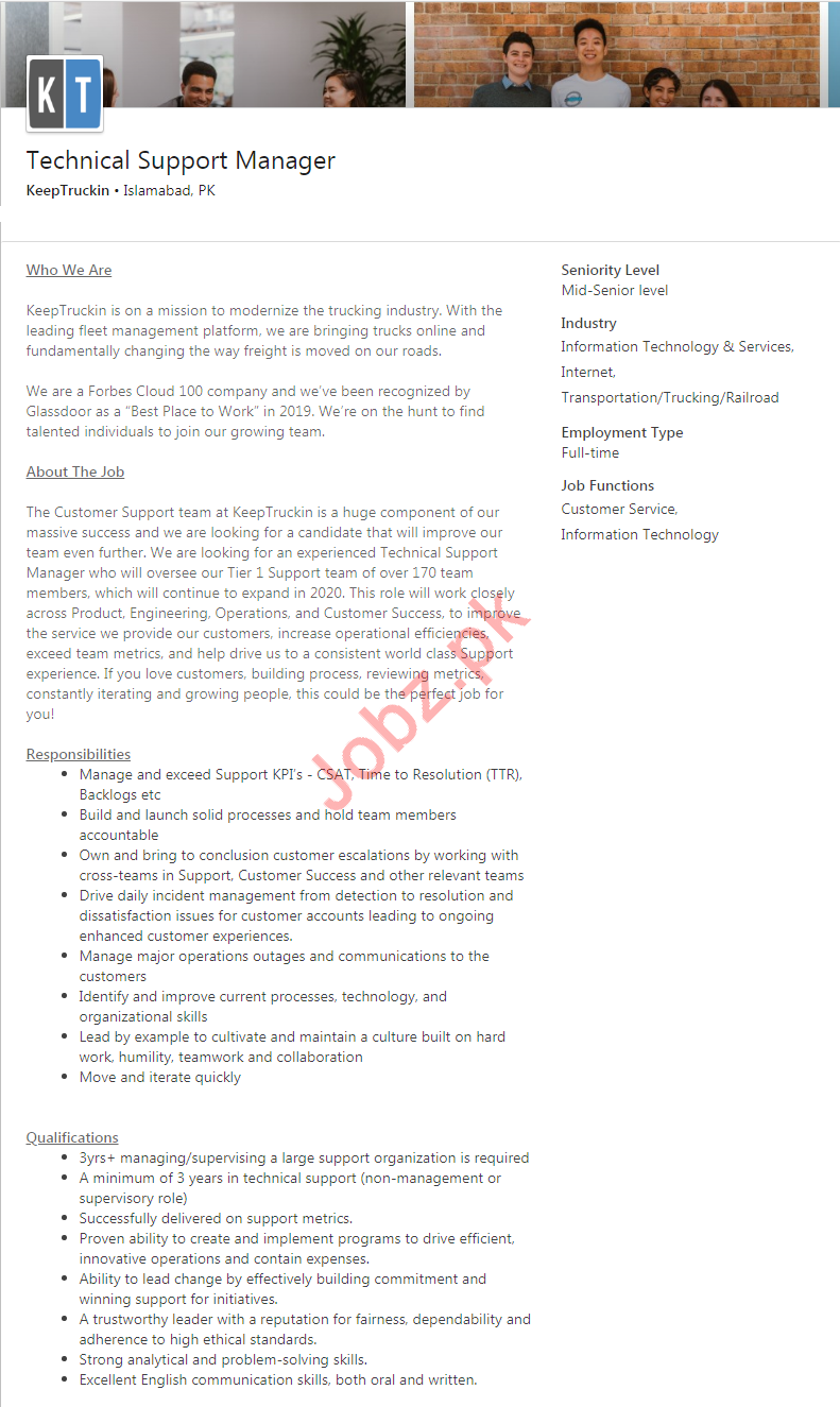Technical Support Manager Job 2020 in Islamabad