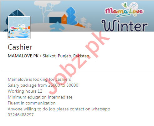 Mamalove Online Store Job 2020 For Cashier in Sialkot