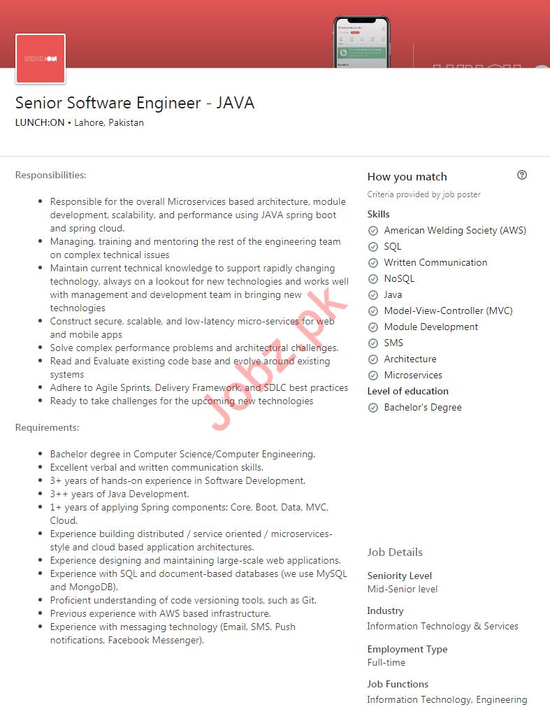 Senior Software Engineer JAVA Job 2020 in Lahore