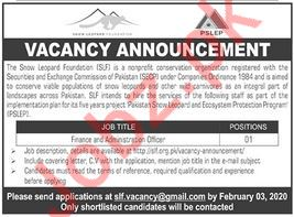 Snow Leopard Foundation SLF Admin & Finance Officer Jobs