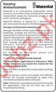 Manager Herwash Jobs in Water Aid NGO