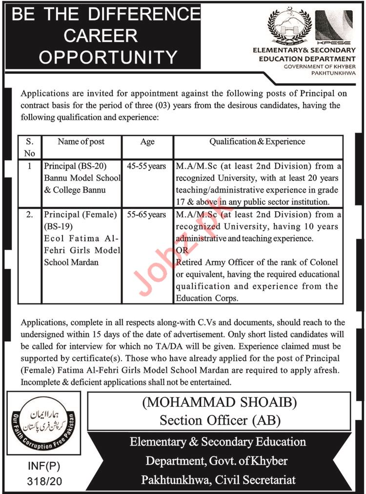 Elementary & Secondary Education Department Jobs 2020
