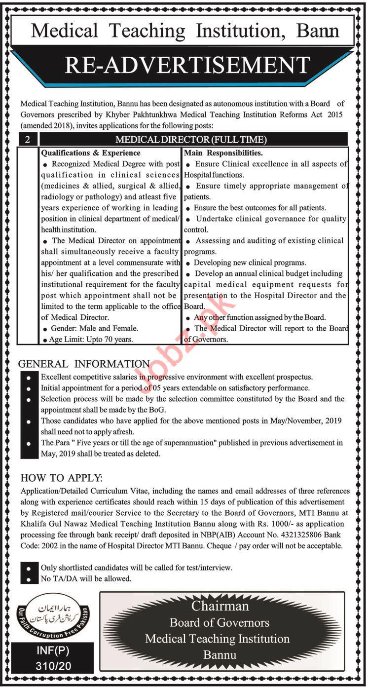 Medical Teaching Institute MTI Job For Medical Director