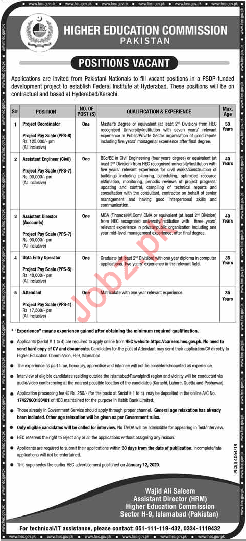 Higher Education Commission HEC Jobs 2020