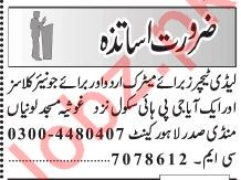 Daily Jang Teaching Staff Jobs 2020 in Lahore