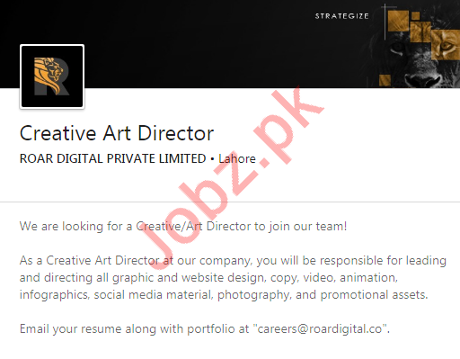 Creative Art Director & Creative Manager Jobs in Lahore