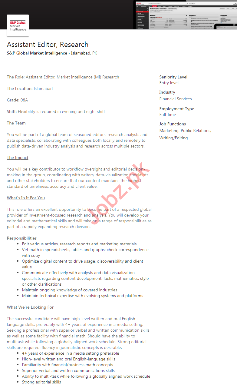 Assistant Editor Research Job 2020 in Islamabad