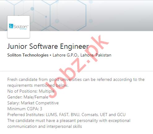 Junior Software Engineer Job 2020 in Lahore