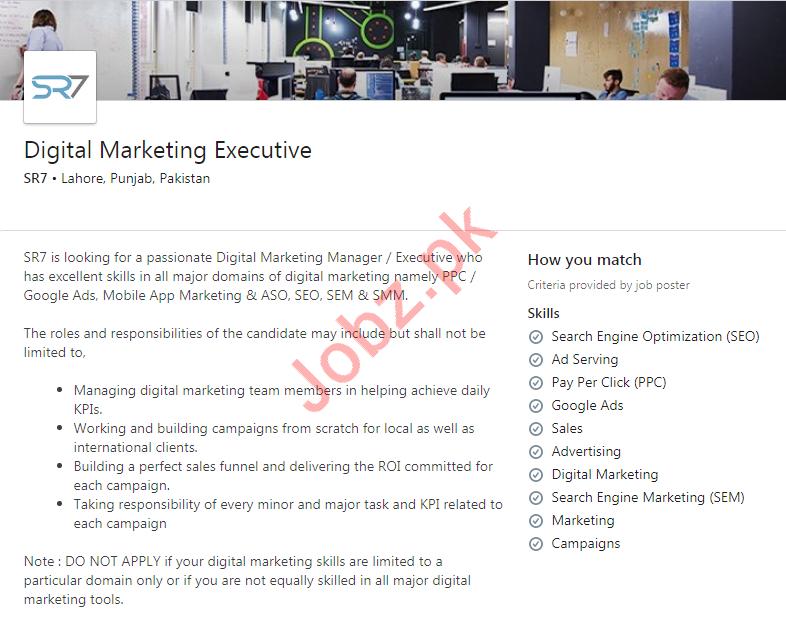 Digital Marketing Executive Job 2020 in Lahore