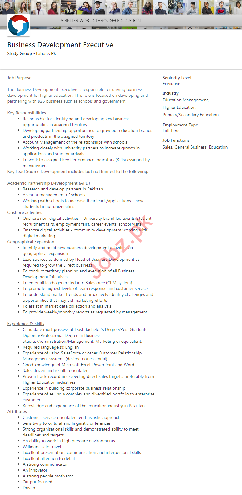Business Development Executive Job 2020 in Lahore