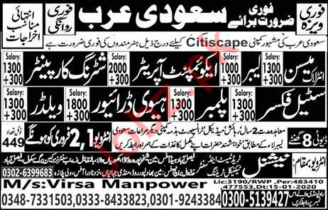 Technical Staff jobs in Citiscape Company Saudi Arabia