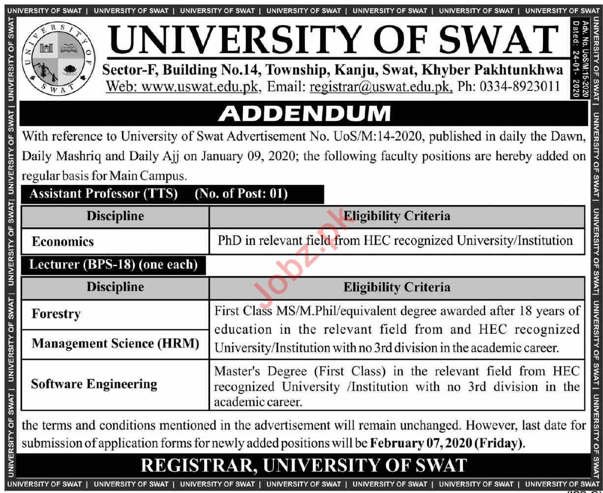 University of Swat Jobs 2020 for Assistant Professors