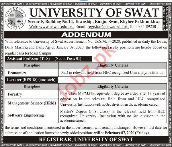 University of Swat Assistant Professor Jobs 2020