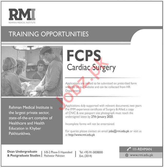 Rehman Medical Institute RMI FCPS Cardiac Surgery Jobs 2020