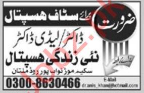 Doctors Jobs 2020 in Nai Zindagi Hospital Multan