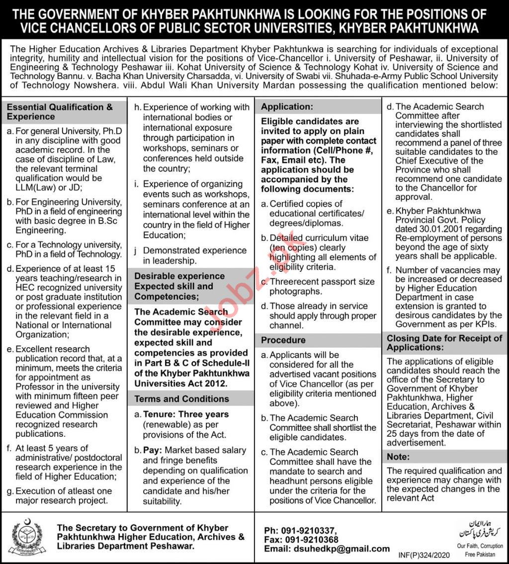 Vice Chancellor Jobs in Public Sector Universities KpK