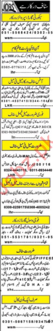 Male & Female Staff Jobs 2020 in Islamabad