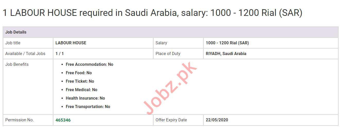 House Labour Jobs 2020 in KSA