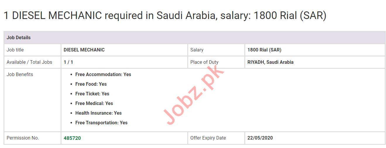 Diesel Mechanic Jobs 2020 in Saudi Arabia