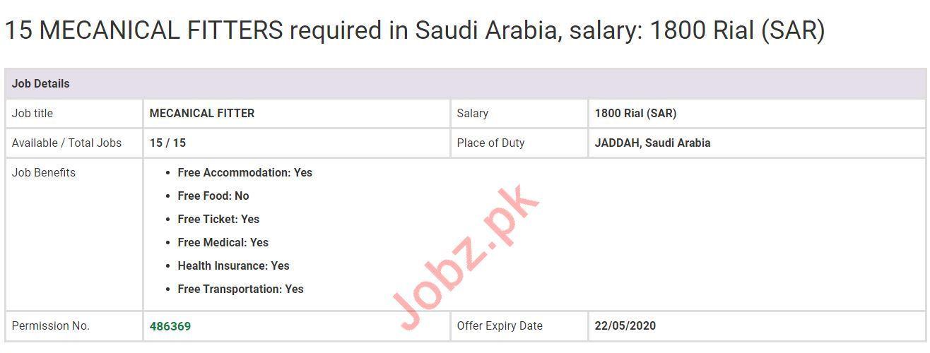 Mechanical Fitter Jobs 2020 in Saudi Arabia