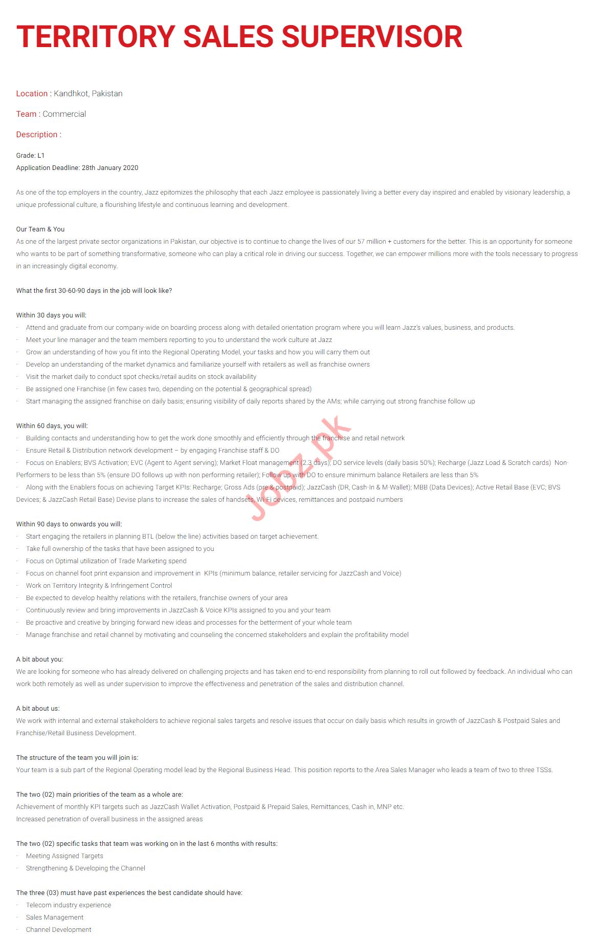 Territory Sales Supervisor Jobs in Jaz Telecom