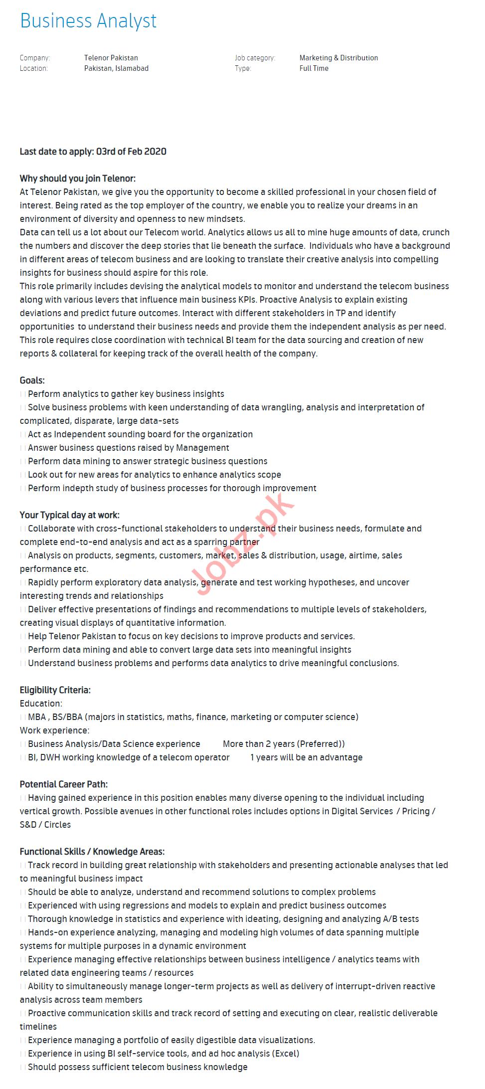 Business Analysat Jobs in Telenor Pakistan
