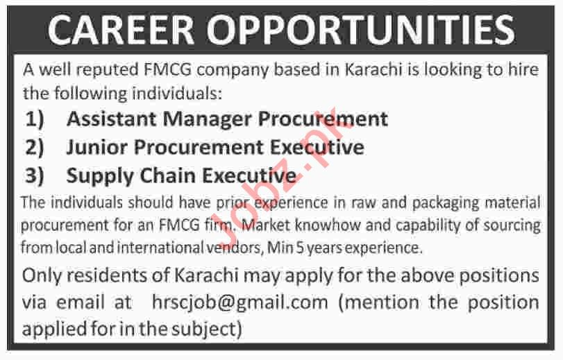 Assistant Manager Procurement & Supply Chain Executive Jobs