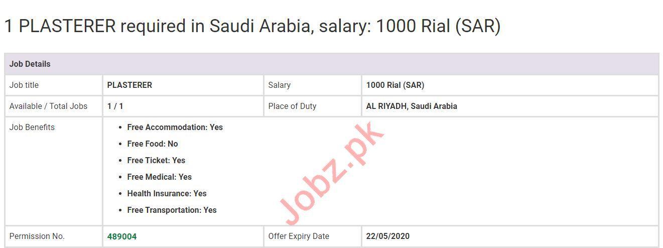Plasterer Job 2020 in Saudi Arabia