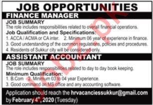 Finance Manager & Assistant Accountant Jobs 2020