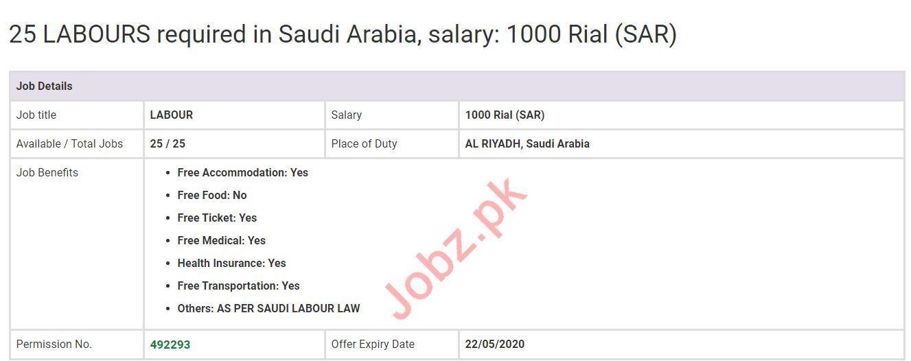 Labours Jobs 2020 in Al Riyadh Saudi Arabia