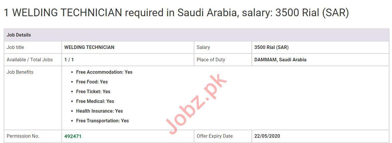 Welding Technician Job 2020 in Dammam Saudi Arabia