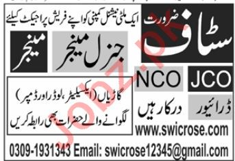 SwicRose Multinational Company Jobs 2020 in Karachi
