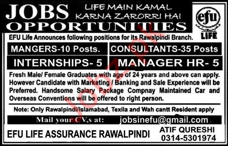 Efu Life Assurance Ltd Jobs 2020 in Rawalpindi