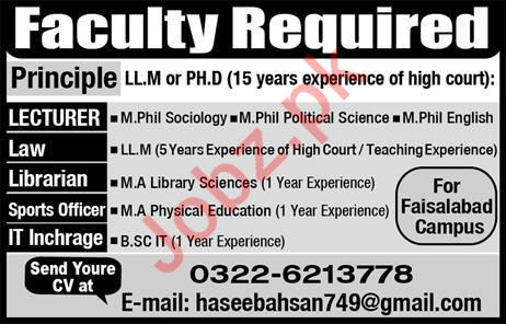 Faculty & Non Faculty Staff Jobs 2020 in Faisalabad Campus