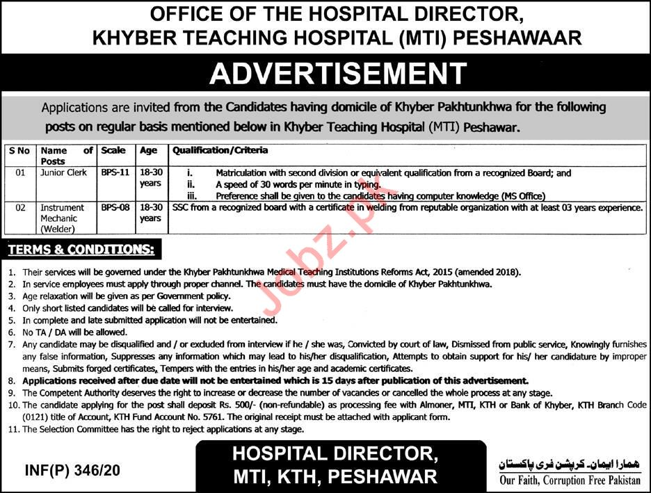 Khyber Teaching Hospital MTI Jobs 2020 in Peshawar KPK