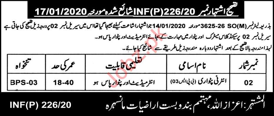 Land Reclamation Department Job 2020 For Internee Patwari
