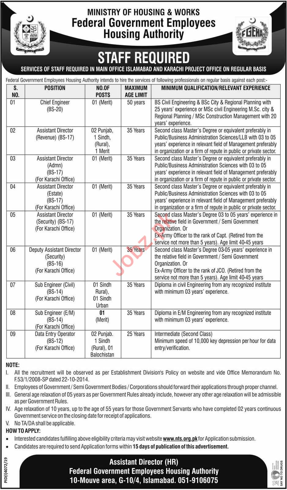Federal Government Employees Housing Authority Jobs via NTS