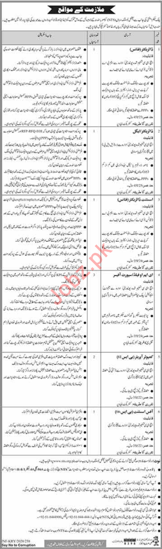 Public Sector Organization Jobs 2020 in Karachi via NTS